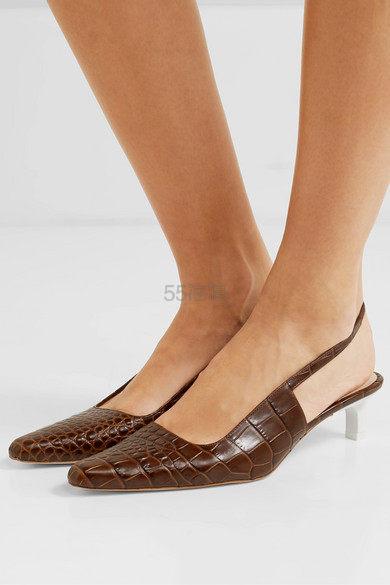 REJINA PYO Lois 仿鳄鱼纹皮革露跟中跟鞋 3.5(约1,126元) - 海淘优惠海淘折扣|55海淘网