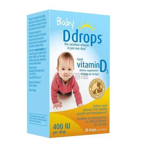 【4件0税免邮+9折】Ddrops 婴儿维生素D3滴剂 400IU 90滴 .82(约111元) - 海淘优惠海淘折扣 55海淘网