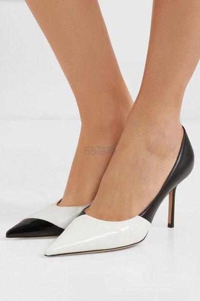 Jimmy Choo Love 85 不对称双色哑光皮革漆皮高跟鞋 487.5澳币(约1,986元) - 海淘优惠海淘折扣|55海淘网