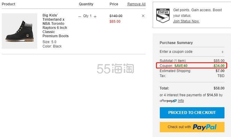 【额外6折】Timberland x NBA 添柏岚 6 Premium 大童款 户外靴 (约357元) - 海淘优惠海淘折扣 55海淘网