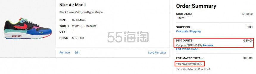 【额外7.5折】Nike 耐克 Air Max 1 男子气垫运动鞋 (约632元) - 海淘优惠海淘折扣|55海淘网