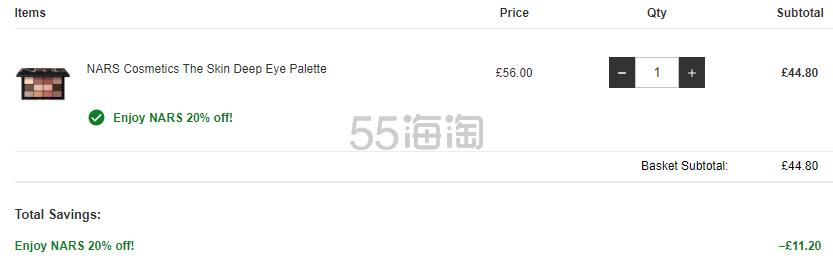 【限时解禁直邮】NARS The Skin Deep 12色眼影盘 £44.8(约396元) - 海淘优惠海淘折扣 55海淘网
