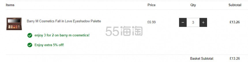 买3付2+额外9.5折!Barry M 坠入爱河10色眼影盘 £4.42(约39元) - 海淘优惠海淘折扣|55海淘网