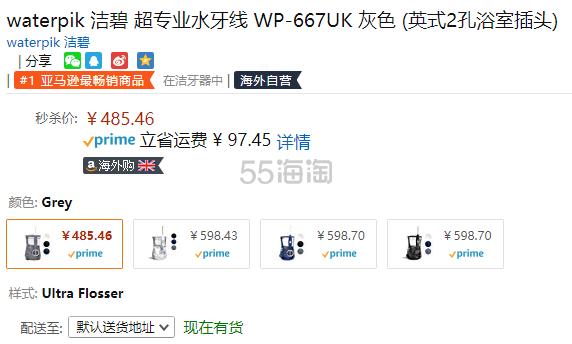 【中亚Prime会员】Waterpik 洁碧 WP-667UK 家用冲牙器水牙线 灰色 英标2孔插头 到手价530元 - 海淘优惠海淘折扣 55海淘网