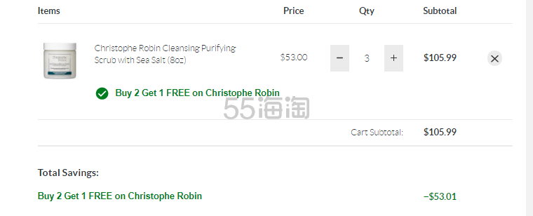SkinStore:Christophe Robin 海盐头皮清洁膏等 买3付2!相当于6.7折! - 海淘优惠海淘折扣|55海淘网