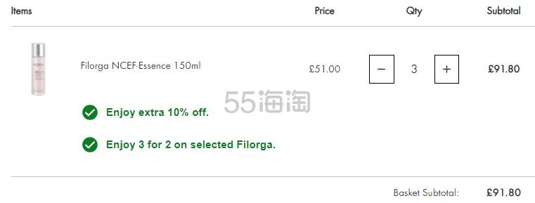 买3付2+额外9折!Filorga 菲洛嘉 NCEF 再生保湿爽肤水 粉水 150ml £30.6(约267元) - 海淘优惠海淘折扣|55海淘网