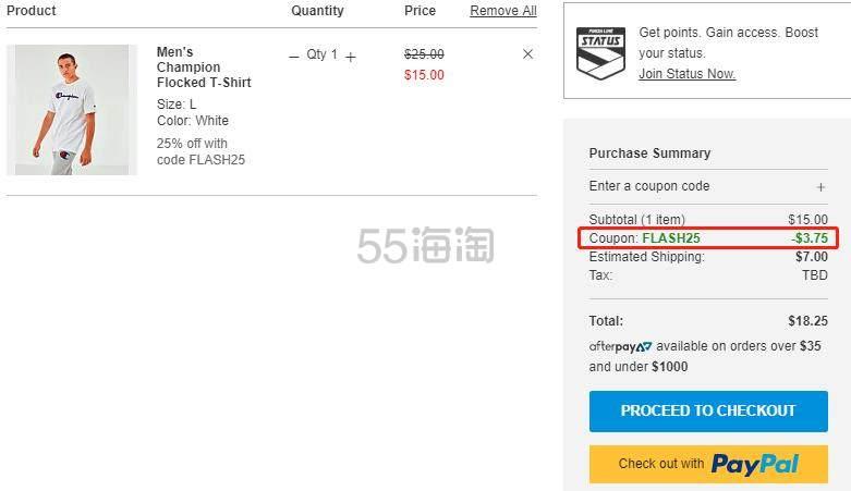 【额外7.5折】Champion 冠军 男子纯棉T恤 .25(约79元) - 海淘优惠海淘折扣 55海淘网