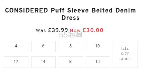 【7.5折】Topshop 修身短袖牛仔连衣裙 £30(约262元) - 海淘优惠海淘折扣|55海淘网