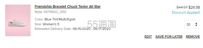 Converse 匡威 All Star 牛仔浅蓝色低帮鞋 .98(约191元) - 海淘优惠海淘折扣|55海淘网