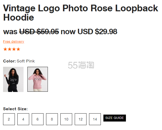 Superdry 极度干燥 Vintage Logo Photo Rose Loopback 连帽卫衣