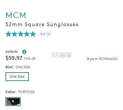 MCM 52mm 方形墨镜 .97(约424元) - 海淘优惠海淘折扣|55海淘网