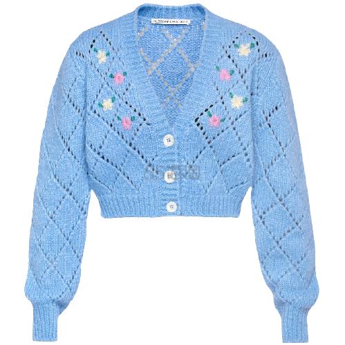 【8.5折】ALESSANDRA RICH 羊驼毛混纺短款开襟衫