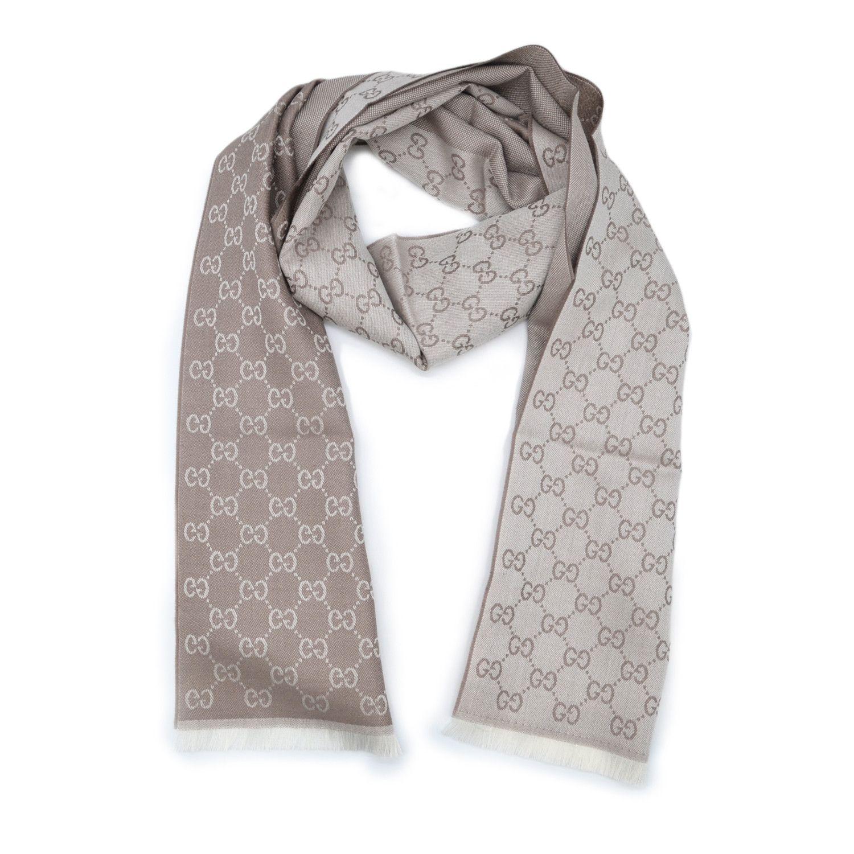Gucci 古驰 GG字母图半网格羊毛围巾