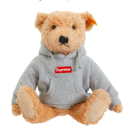 StockX绿叉:Supreme Steiff Bear Heather Grey 泰迪熊