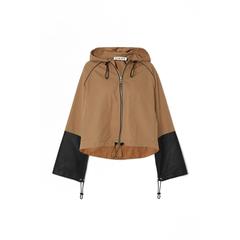 【5折】LOEWE 连帽皮革拼接纯棉帆布外套