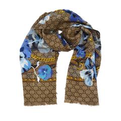 【6.1折】Gucci 古驰 GG花卉印花羊毛围巾