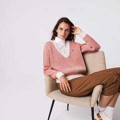 【5折】Lacoste 女式双色低V领罗纹羊毛衫