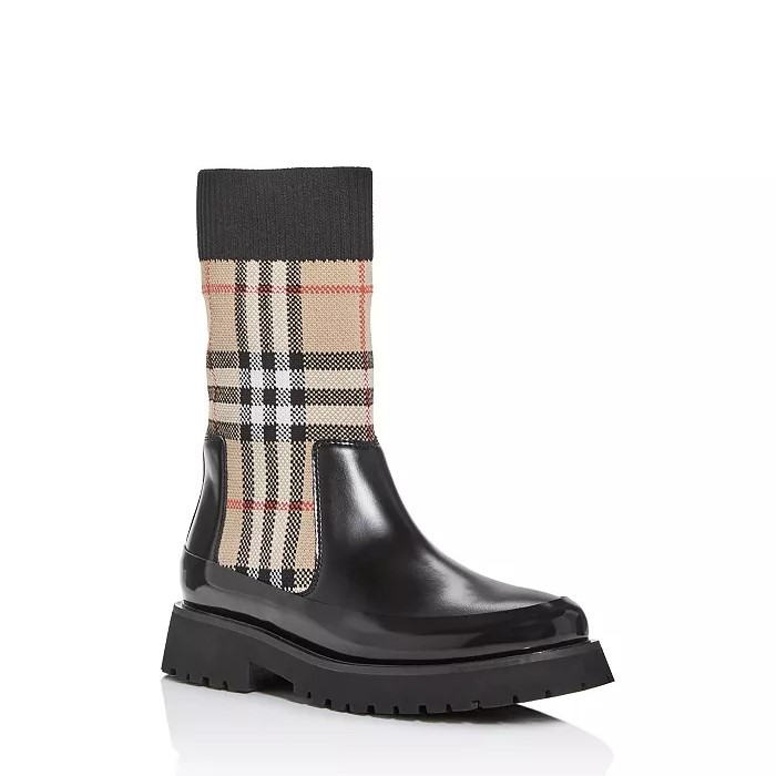 Burberry 儿童中性款 DUNG复古针织格子靴