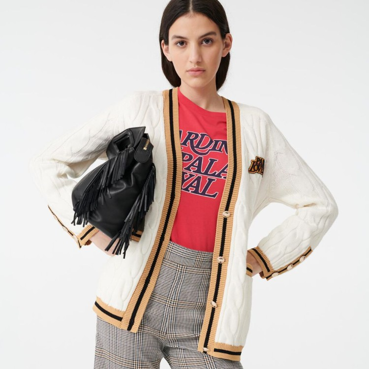 Maje CABLE CARDIGAN WITH CONTRASTING BANDS