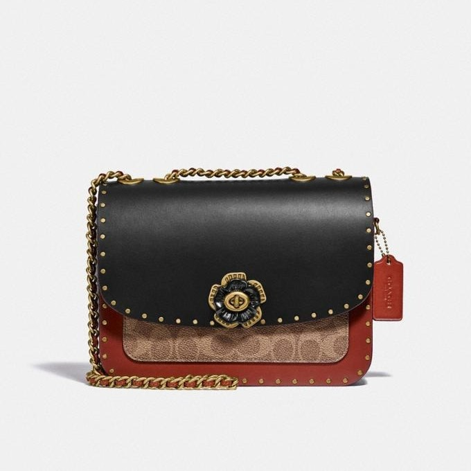 Coach Madison Shoulder Bag In Signature Canvas With Rivets And Snakeskin Detail