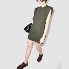 【两件包邮】Frankie Shop Tina 肩垫T恤式连衣裙