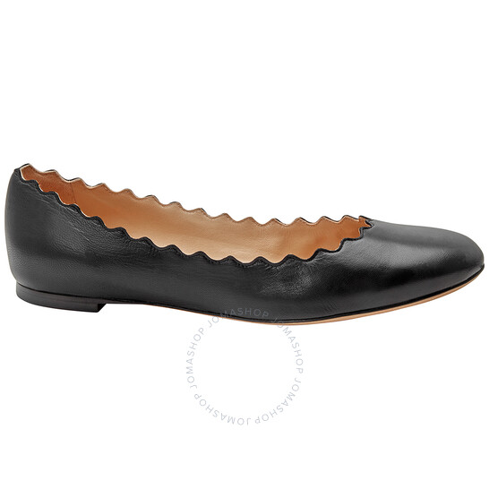 CHLOELadies Scalloped Ballet Flats In Black