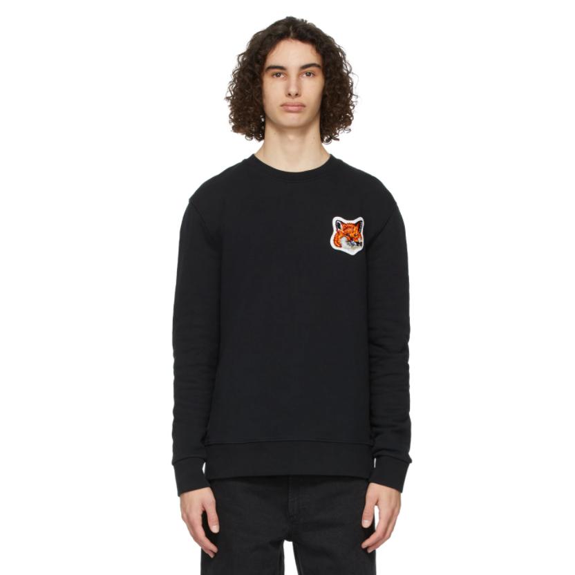 MAISON KITSUNÉ Black Velvet Fox Head Sweatshirt