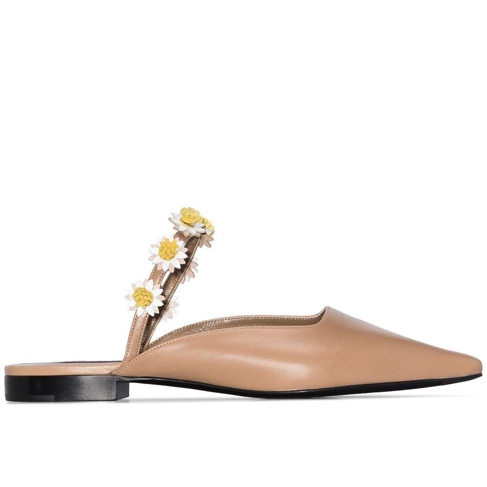 【6折包税直邮】Fabrizio Viti Bea 小雏菊缝饰皮质穆勒鞋