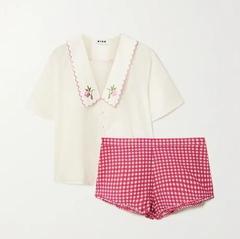 RIXO Flora 刺绣纯棉府绸睡衣套装