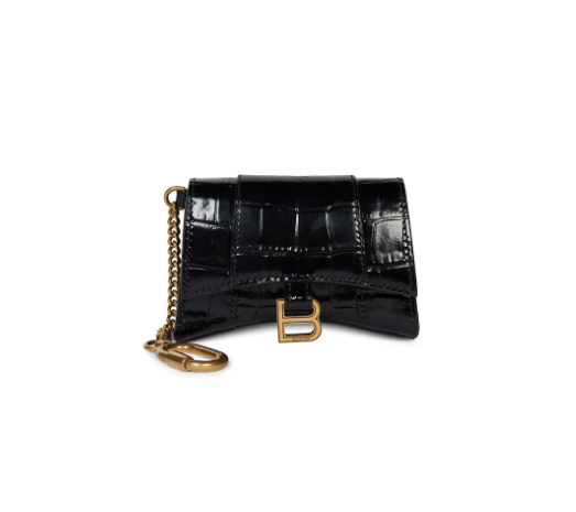 Balenciaga Hourglass Croc-Embossed Leather Card Case-On-Chain