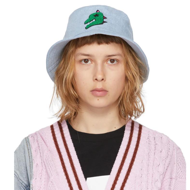 SJYP SSENSE Exclusive Blue Denim Dino Bucket Hat