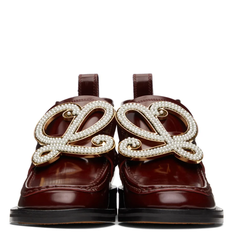 LOEWE SSENSE Exclusive Burgundy High-Top Loafer Boots
