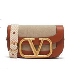 【舒淇同款 6.3折】Valentino Supervee 皮革拼帆布单肩包