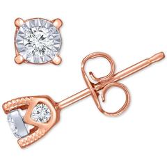 【变相2.2折】TruMiracle 14K玫瑰金钻石耳环