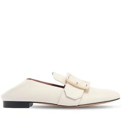 【6折+正价高返15%】Bally 经典方扣可踩跟乐福鞋 米白色