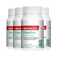 【包税直邮】Nutralife 纽乐 植物水果消化酶酵素胶囊 60粒*4