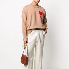 【8折+含税直邮】Ami Paris 棕色大爱心毛衣