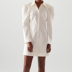 【3折】COS 垂褶纯棉衬衫式连衣裙