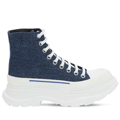 【变相5.6折】Alexander McQueen 丹宁蓝厚底鞋 黄金码全