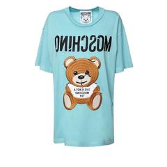 BUG价!【变相3.7折+高返15%】MOSCHINO 泰迪熊 LOGO 棉质平纹针织 女士浅蓝色T恤