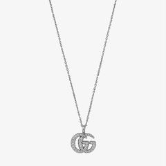【5折】Gucci GG 18ct 白金镶钻项链