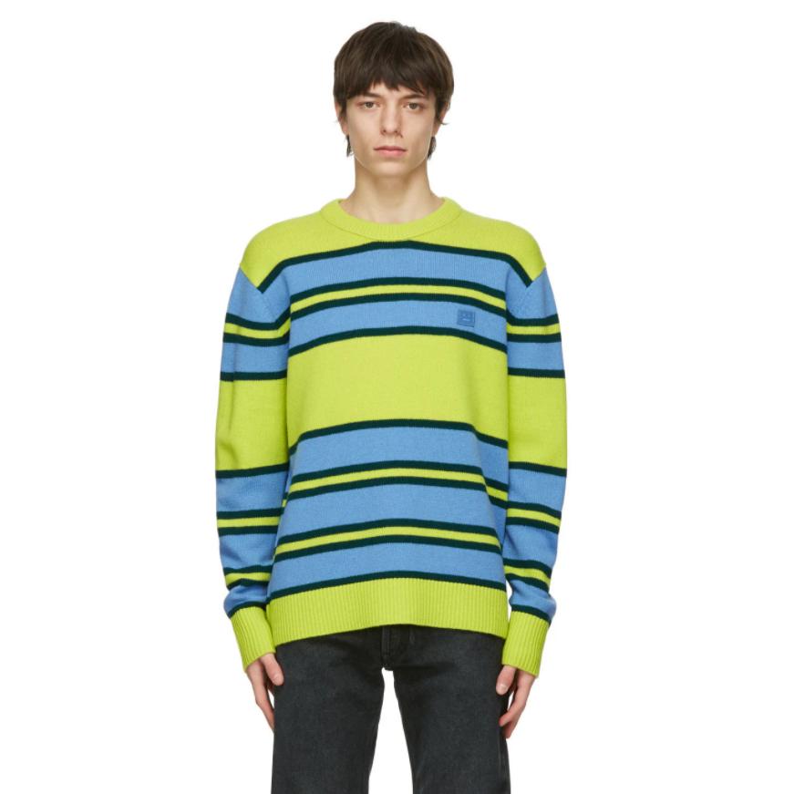 ACNE STUDIOS Green & Blue Wool Striped Sweater