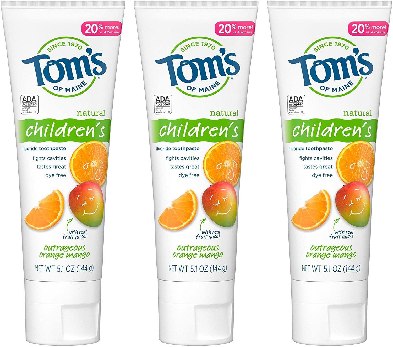 新客首单高返6%!Tom's of Maine汤姆小屋儿童天然含氟防蛀牙膏橙子芒果味 144g*3支