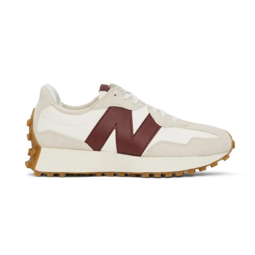 NEW BALANCE 白色 & 酒红色 327 运动鞋 少量现货