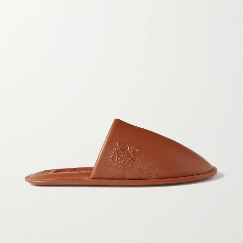 LOEWE logo全皮革拖鞋 4折邮寄港澳退税