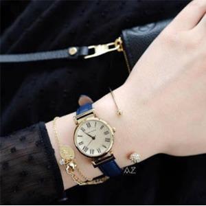 Anne Klein安妮克莱因 2246CRNV 蓝色皮革表带手表