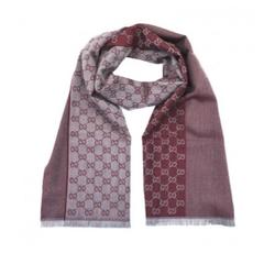Gucci 古驰藕粉色GG字母图案双面织带羊毛围巾