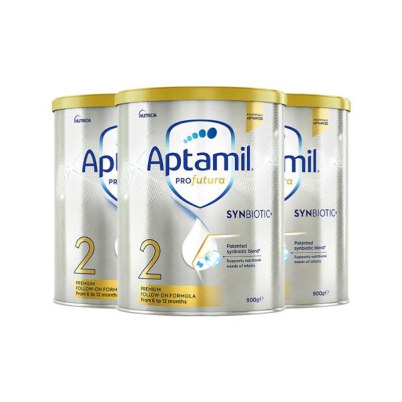 【三件包邮套装】 Aptamil 新版爱他美 白金装奶粉 婴幼儿配方奶粉 二段 900g