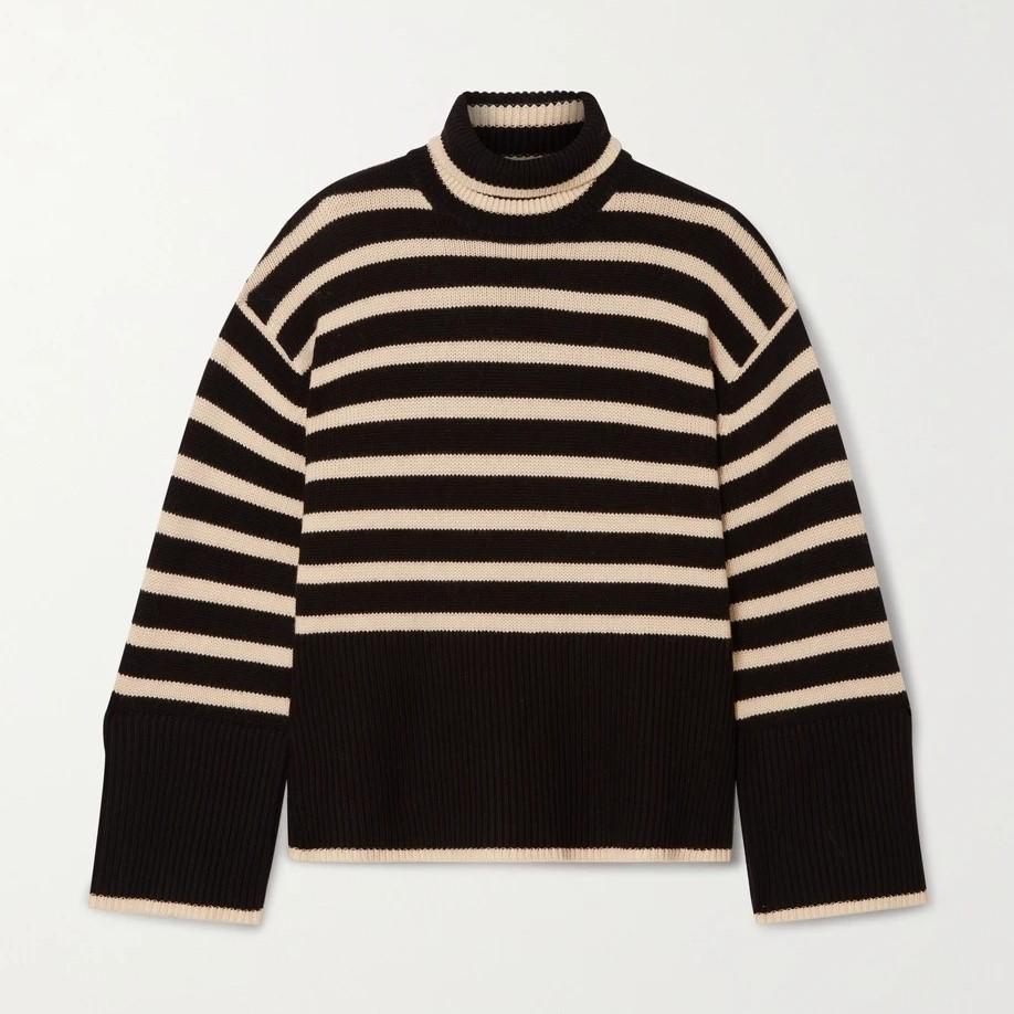 Toteme 条纹开叉高领毛衣oversize款 双色可选 码全