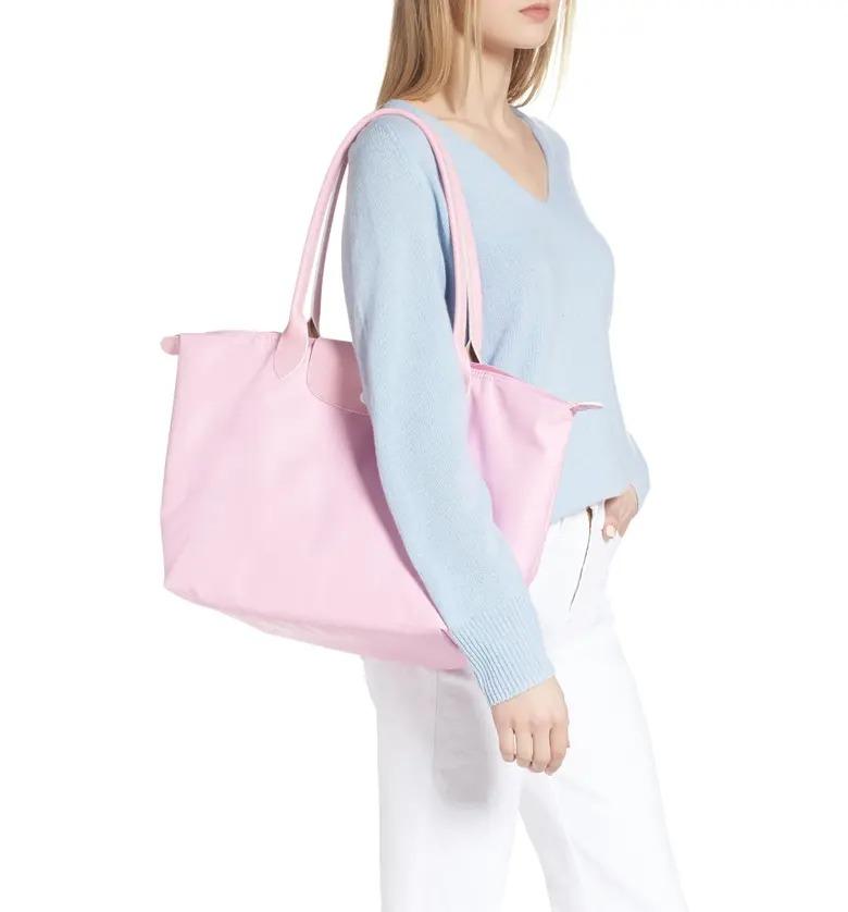 Longchamp 珑骧 70周年款长柄大号饺子包 粉色/黄色